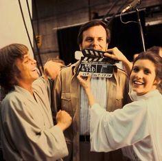 Rare and beautiful celebrity photos | Mark Hamill, Gary Kurtz and Carrie Fisher