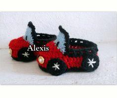 Zapatos Tipo Carro  Tejida a Crochet 0-3 3-6 meses 200BsF