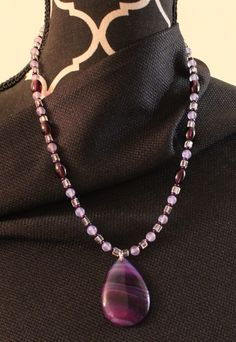 """Purple and clear beaded pendant necklace.  12"""" L."""