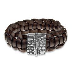 pulsera de plata y cuero de PLATADEPALO, a la venta en nuestra tienda online