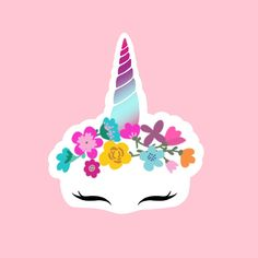 Excited to share this item from my shop: Flower Unicorn Sticker Unicorn Stickers, Name Stickers, Waterproof Stickers, Sticker Design, Flower Crown, Blue Flowers, New Art, How To Draw Hands, Ipad