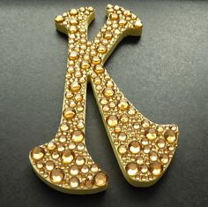 Wooden Letter K with Crystals Monogram Wall Art by ArtBargainz