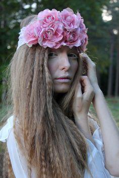 Vintage Pink Rose Flower Crown