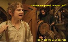 Kili & Fili at their finest? 'Beer tell me your secrets' #funny #LotR #TheHobbit