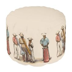 This artistic, decorative pouf ottoman is adapted from an oil on canvas painted by the American artist, Anna Unterman, in the 1950's in Port-au-Prince, Haiti. Street musicians were playing fantastic music on homemade instruments. It was a bright sunny day and the pastel colors were bathed in brilliant light. Reprinted with permission from the estate of Anna Unterman. All rights reserved.