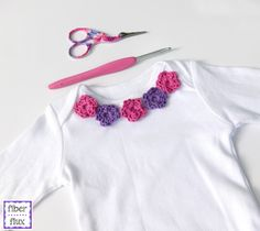 Sweet Floral Infant Shirt, free crochet pattern on Fiber Flux