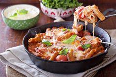 Mozzarella, Basil, and Tomato Pasta Bake is so yummy!