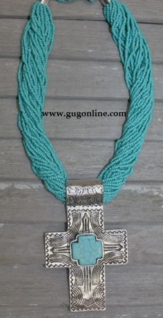 Shop now at www.gugonline.com! Turquoise Beaded Necklace with Cross Pendant Price: $24.95 www.gugonline.com
