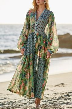 Bohemian Print Balloon Sleeves Holiday Maxi Dress – chiclinen casual dresses,casual dresses for women,casual dresses outfit,linen dresses,linen dresses for women Half Sleeves, Types Of Sleeves, Boho Fashion, Fashion Dresses, Maxi Dresses, Linen Dresses, Petite Fashion, Fashion Clothes, Party Dresses