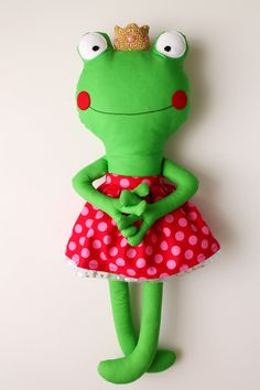 The Princess Frog  Handmade stuffed toy doll for children by blita, $46.00