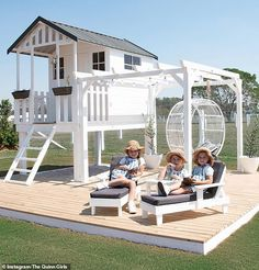 Creative mum, reveals how she turned a cubby house from Bunnings into a Hamptons-inspired haven Kids Cubby Houses, Kids Cubbies, Play Houses, Outdoor Play Spaces, Kids Outdoor Play, Backyard For Kids, Backyard Playhouse, Backyard Playground, Wendy House