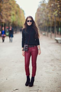 Christina, going for black with burgundy leathers... Paris.