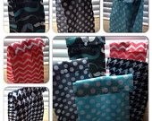 Reusable Lunch Bag Eco-Friendly tote Kids or Adult Go Green! Reuse! Teal Grey Polka Dots houndstooth Mustache Chevron