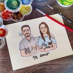 A Paola escolheu essa ilustração para presentear seu namorado, e não deixou de fora os gatinhos dos dois 😻🐈Muito amor reunido 💕 ⚪ ⚪ ⚪ #watercolour #watercolor #aquarelle #aquarela #ilustración #ilustração #illustration #draw #sketch #paint #desenho #dibujo #desenhando #casal #cats #catlovers #love #amor #diadosnamorados #couple #gatinho #gato #bichano #aquarelinhas