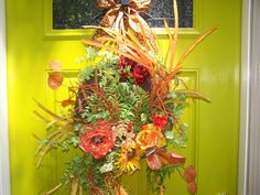 BRIGHT COLORFUL FALL Wreath Different Twist by CustomFloralDesigns, $79.95