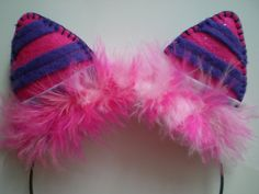 Reserved Pink and Purple Felt Cheshire Cat Ear by happygonoggin