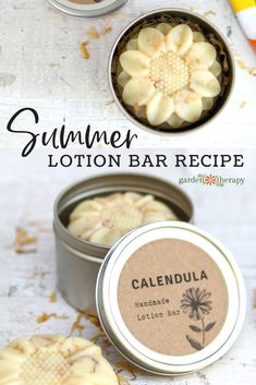 These lotion bars are made with grapeseed oil infused with calendula petals to give them a beautiful golden hue and all the delightful skin properties of calendula. These summer lotion bars glide on your skin easily, are absorbed Diy Lotion, Lotion Bars, Lotion En Barre, Diy Cosmetic, Diy Peeling, Diy Body Butter, Lotion Recipe, Homemade Soap Recipes, Beeswax Recipes