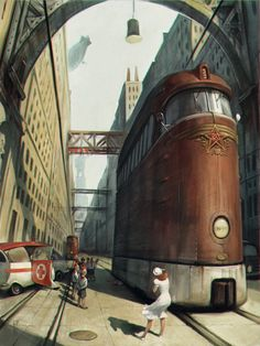 """der Tod eines Pioniers"" Retrò illustration by Waldemar von Kazak (Urss) - DigitalArt - (train trolley ambulance city street accident landscape location environment architecture) Diesel Punk, Art Cyberpunk, Steampunk Kunst, Steampunk Artwork, Art Deco Posters, Futuristic Architecture, Sci Fi Art, City Streets, Sword Art"