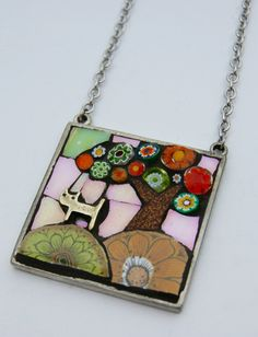 Picture Pendant Necklace  Cat on a Hill by AngelaIbbsMosaics