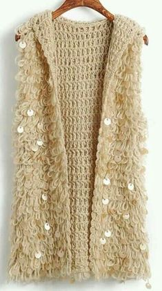 Khaki Women Autumn Winter Euro Style Sequins Hollow-out Hood Black Vest Knitting Cardigans One Size Black Crochet Dress, Crochet Blouse, Crochet Stitches, Crochet Patterns, Crochet Baby, Knit Crochet, Easy Crochet Projects, Jacket Pattern, Crochet Fashion