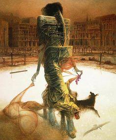Enjoy The Art of Zdzisław Beksiński was a Polish painter, photographer and sculptor, specializing in the field of dystopian surrealism. Arte Horror, Horror Art, Art Visionnaire, Dark Artwork, Illustration, Creepy Art, Dark Fantasy Art, Fantastic Art, Surreal Art