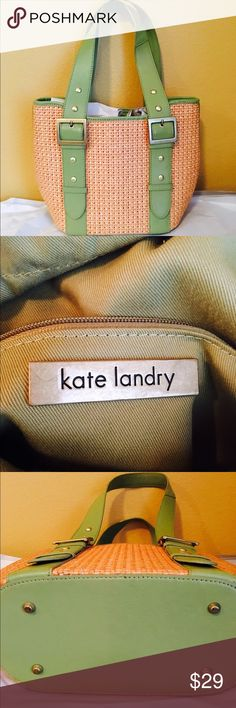 KATE LANDRY BAG, excellent condition Beautiful, fun KATE LANDRY BAG, draw string gathering inside with one zip pocket and two smaller inside pockets!, leather straps, two buckets front and back Kate Landry Bags Shoulder Bags