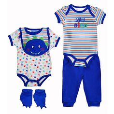 "$11.99 Carter's Watch the Wear ""Baby Dino"" 5-Piece Value Set (Sizes 0M - 9M) - blue, 3 - 6 months"