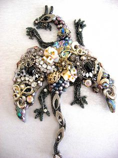 Dragon Framed Vintage Jewelry Art Jewelry by ArtCreationsByCJ