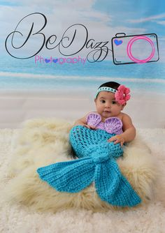 Mermaid Tail This newborn to 3 month mermaid tail costume is just adorable. The colors of aqua coral and lavender make you feel tropical. A fun idea for the new baby photos. the bikini top and headband have a tie closure to make a great fit. Can be made up to 12 months in custom colors.