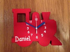 Train Clock  Wooden & can be personalised by JigsawWoodenProducts