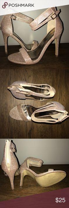 "Gorg Champagne Sparkle Heels Gorg Champagne Sparkle Heels worn 1x Heel Height is 4 1/2"" Shoes Heels"