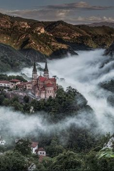 Covadonga is a village and one of 11 parishes in Cangas de Onís, a municipality within the province and autonomous community of Asturias, in northwestern Spain. It is situated in the Picos de Europa mountains. - via Alex Shar Places To Travel, Places To See, Travel Destinations, Wonderful Places, Beautiful Places, Amazing Places, Beautiful Castles, Beautiful Scenery, Beautiful Forest