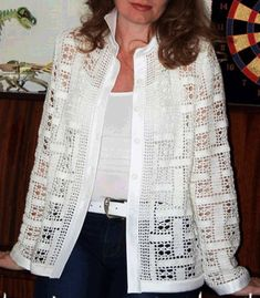 Letras E Artes Da Blusas De Autores - Diy Crafts - Hadido - Diy Crafts Gilet Crochet, Crochet Coat, Crochet Jacket, Freeform Crochet, Crochet Cardigan, Crochet Clothes, Crochet Baby, Crochet Sweaters, Baby Knitting Patterns