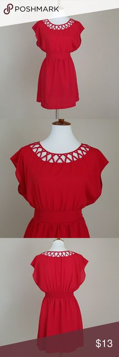 Forever 21 Red Short Sleeve Dress Red short sleeve dress from Forver 21. Caged detail on collar and back. Waistband front, elastic in back. Lined. Laying flat chest measures 19.5'. Waist 14.5'. Total length of dress is 32.5'.100% Polyester Forever 21 Dresses Mini