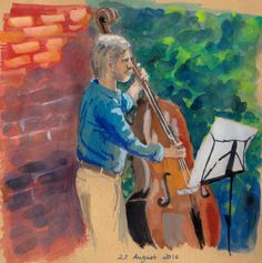 The bass player. Gouache sketch by Antje Bednarek-Gilland.
