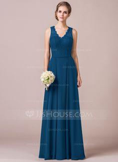 A-Line/Princess V-neck Floor-Length Chiffon Lace Bridesmaid Dress (007056568)