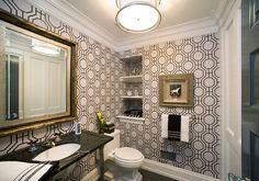 Hollywood Regency bathroom wallpaper