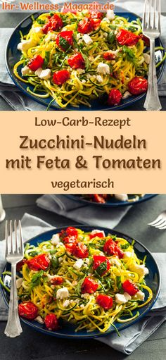 Low carb zucchini pasta with feta and tomatoes - vegetarian main course - Low-c. - Low carb zucchini pasta with feta and tomatoes – vegetarian main course – Low-carb recipe for - Vegetarian Main Course, Vegetarian Lunch, Vegetarian Dinners, Vegetarian Recipes, Pasta Recipes, Low Carb Recipes, Healthy Recipes, Dishes Recipes, Vegan Dishes