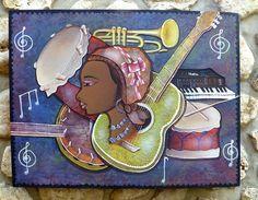 Haitian Art - Musical Instruments - Hand Painted Haitian Canvas Painting - Original Naive Art - Primitive Art of Haiti - 30 x 40 - 255 Hand Painted Canvas, Canvas Wall Art, Painted Metal, Metal Art, Barbados, Nature Paintings, Canvas Paintings, Artwork Paintings, Haitian Art