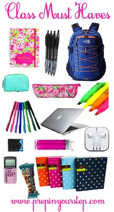 Any school supplies in general, such as cute and colorful binders and pens and pencils and such