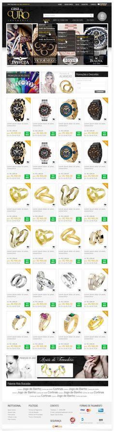 "Cliente: Casa do Ouro Serviço: Layout Personalizado – Combo 1 Tecnologias: jQuery, Tableless Conceito: Para criar o layout da loja virtual ""Casa do Ouro"", seguimos a tendência do mercado para lojas do segmento de joias. Utilizando como cores principais o amarelo e preto, deixamos este layout com característica luxuosa e rica, valorizando ainda mais os produtos comercializados. #design #ecommerce #layout #jewelry #luxury"