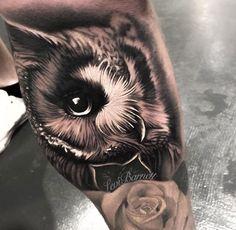 Close up owl tattoo by Levi Barnett