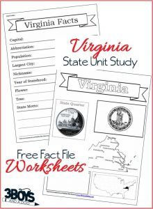 Virginia State Fact File Worksheets