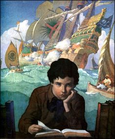 Newell Convers Wyeth (October 1882 – October known as N. Wyeth, was an American artist and illustrator. Art And Illustration, Book Illustrations, Cover Art, Jamie Wyeth, Nc Wyeth, Howard Pyle, Illustrator, Lectures, Conte