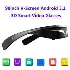 Verbeterde versie! Full HD 1080 P 98 inch V-Screen Android5.1 WiFi Touch-Knop Spoor Bal Opera Browser 3D Smart Video Bril
