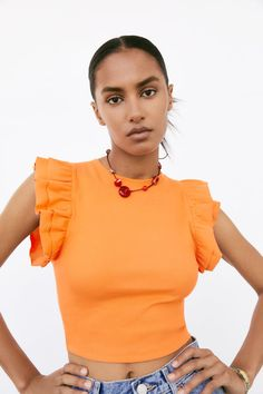 RUFFLED TOP | ZARA United States Ruffle Top, Ruffle Blouse, Zara United States, Cap Sleeves, Crop Tops, T Shirt, Women, Fashion, Suspenders