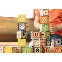 When teaching your child how to read, write, sort, and just have fun, nothing beats simplicity. This set of 28 blocks is crafted from sustainable wood.