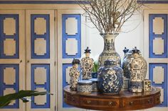 Italy - Emilia Romagna Collection of blue chinese vases in the passage way to the bedrooms at Alessia Sassoli De Bianchis house,Bologna