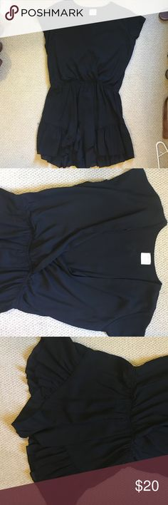 Hello Molly Loving Things Black Romper! Size 12 but fits more like an 8/10. Ruffles on the bottom, open v neck in the front. Hello Molly Pants Jumpsuits & Rompers