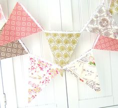 9 Feet Fabric Banner 21 Flag Bunting Rustic by vintagegreenlimited, $32.00